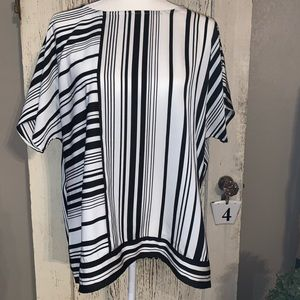 Chico's polyester black and white striped blouse.